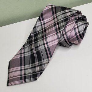 CHAPS pink/gray/black plaid neck tie necktie